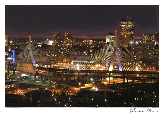 Zakim Bunker Hill Bridge with view of Boston CCNESS 1038